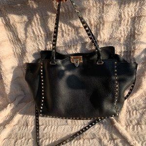 844b34fe7e Valentino Rockstud Grained Leather Medium Tote Bag